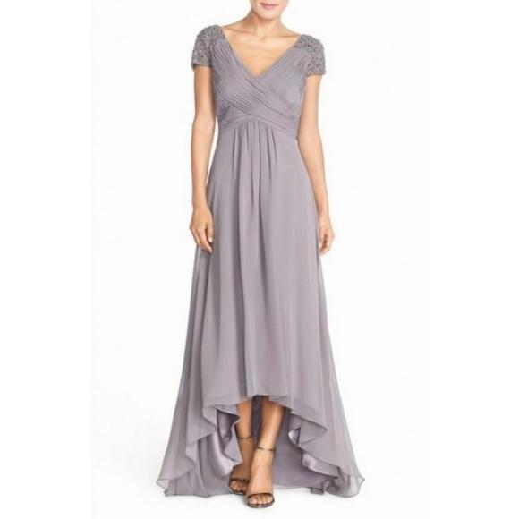 8129302f8618 Eliza J Dresses | Beaded Shoulder Pleated Chiffon Gown | Poshmark